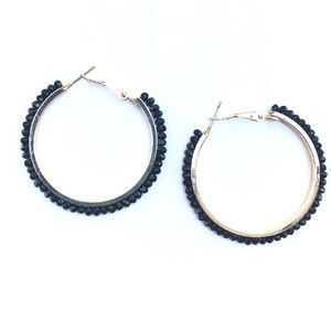 Jewelry - Iridescent Black Beaded Hoop Earrings